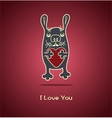 Funny rabbit in love gives his heart for vector image vector image