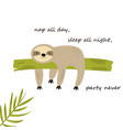 funny sloth napping on a tree funny vector image vector image