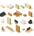 furniture isometric elements set vector image