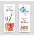 Gardening Watercolor Banners Set vector image vector image