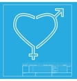 Gender signs in heart shape White section of icon vector image vector image