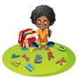 Girl with alphabet blocks vector image