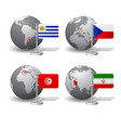 gray earth globes with designation uruguay vector image vector image