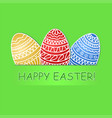 happy easter greeting card with colored eggs on vector image vector image