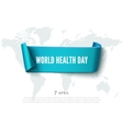 Health day concept with green paper ribbon banner vector image vector image