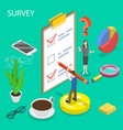 isometric flat concept survey customer vector image vector image
