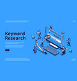 keyword research seo tool isometric landing page vector image vector image