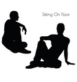man in Sitting On Floor pose on white background vector image vector image