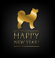 new year card with golden dog vector image
