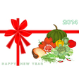 New Year Gift Card with Vegetable and Food vector image