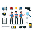 police equipment police officer characters in vector image