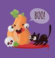 pumpkin cat halloween funny cartoon vector image vector image