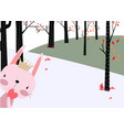 rabbit bunny in the spring forest vector image vector image