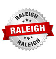 Raleigh round silver badge with red ribbon vector image vector image