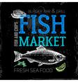 Restaurant sea food menu Fish market poster Hand vector image