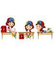 School girl on the table vector image vector image