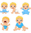 set of cute little babies in various poses vector image