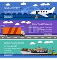 Set of transportation banners in flat style design vector image