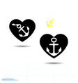 ships anchor with a black heart symbolizing love vector image