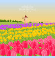 spring card with tulips and a mill vector image vector image