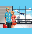 summer traveling couple vector image vector image