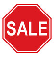 the sign sale and discount stylized as a stop vector image vector image