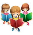 three girls reading books vector image vector image