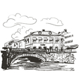 Town riverside sketch vector image