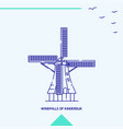 windmills of kinderdijk skyline vector image