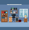 workspace bookshelf desk chair stereo telephone vector image vector image