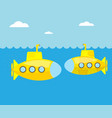 yellow submarine in blue sea vector image