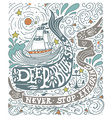 Hand drawn vintage label with a ship whale and vector image