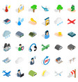 all day airport icons set isometric style vector image vector image