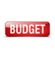 budget red square 3d realistic isolated web button vector image vector image
