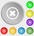 Cancel icon no sign Symbols on eight flat buttons vector image