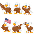cartoon eagles collection set vector image