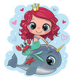 cartoon mermaid and whale on a blue background vector image