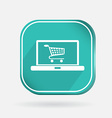 Color icon laptop with shopping cart vector image