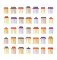cute buildings and houses set in flat style vector image