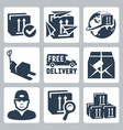delivery icons set box paperplanes globe pallet vector image