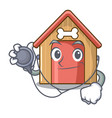 doctor cartoon funny dog house with dish vector image