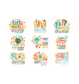 education labels original design set logo vector image