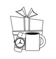 giftbox with male wristwatch and coffee mug in vector image vector image