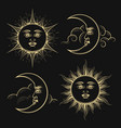 Hand drawn sun and crescent moon esoteric signs