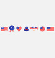 happy independence day icon set line united vector image
