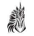 head mascot unicorn isolated on white vector image