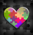 heart consisting of puzzles vector image vector image