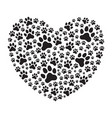 heart filled with animals dogs paw prints vector image vector image