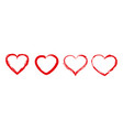 heart icons with brush painting love vector image