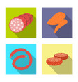 isolated object of meat and ham logo collection vector image vector image
